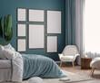 canvas print picture - Mockup frame in dark green bedroom interior background, 3d render