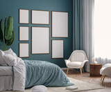Mockup frame in dark green bedroom interior background, 3d render