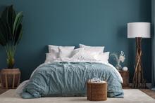 Dark Blue Bedroom Interior Background, 3d Render