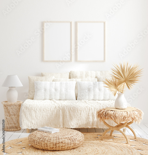 Obraz Mock up frame in home interior background, white room with natural wooden furniture, 3d render - fototapety do salonu
