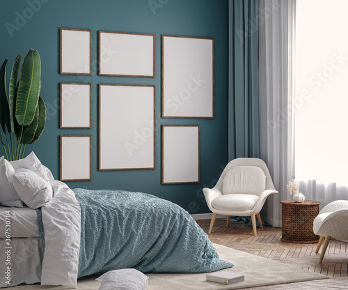 Mockup frame in dark green bedroom interior background, 3d render - 367530784