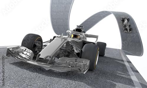 Obraz silver f1 racecar on a wired track 1 - fototapety do salonu