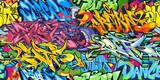 Fototapeta Młodzieżowe - Abstract Colorful Graffiti Street Art Seamless Pattern. Vector Illustration Background Art