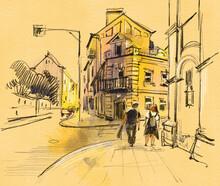 City Landscape.  Sketch With C...