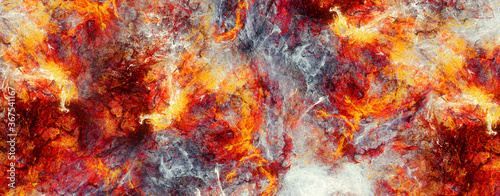 Abstract red hot surface and smoke Wallpaper Mural