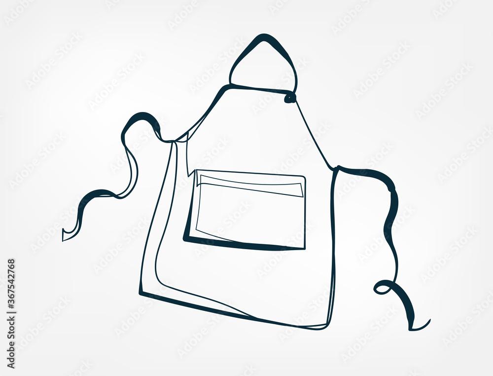 Fototapeta apron vector one line art isolated illustration