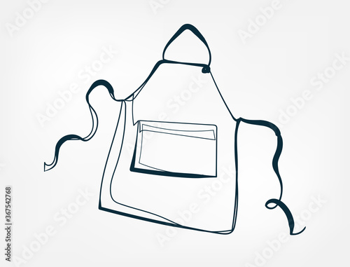 Cuadros en Lienzo apron vector one line art isolated illustration