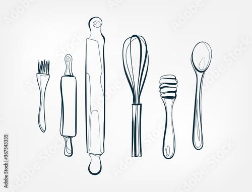 Leinwand Poster baking stuff tools vector one line art isolated illustration