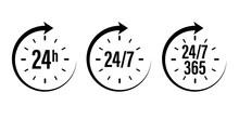 24 7 Clock Icon Vector. Day Ho...