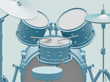 Blue Acoustic Drum Set, First-...