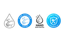 Hand Wash Sanitizer Gel Sign, Corona Virus Icon Vector, Colorful And Black Collections Design Background, Illustration
