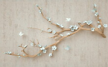 3D Wooden Branch With White Fl...