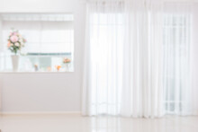 Blurred Background Atmosphere Front Room Light Shining Through The Curtain In Home