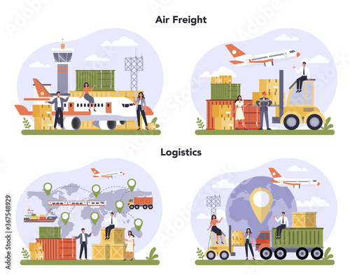 Obraz Air freight and logistic industry set. Cargo transportation service. Idea - fototapety do salonu