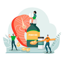 Healthy Lifestyle Concept. Fish Oil Food Supplement. Image Of People And Medical Supplies. Flat Design. Vector Stock Illustration. Isolated On White Background.