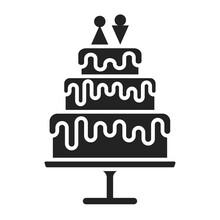 Wedding Cake Dessert Glyph Bla...