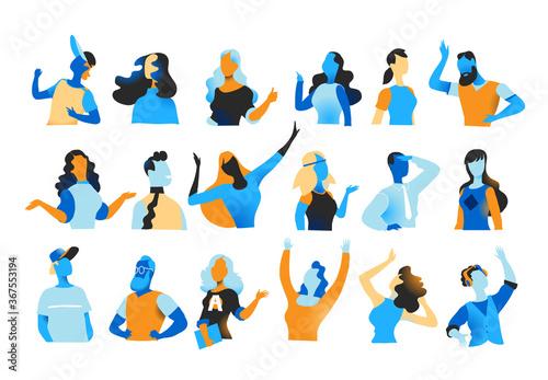 Fotografie, Obraz Collezione di personaggi maschili e femminili per l'animazione dei personaggi