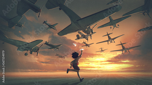 the boy plays paper airplanes and looking at planes flying in the sunset sky, digital art style, illustration painting