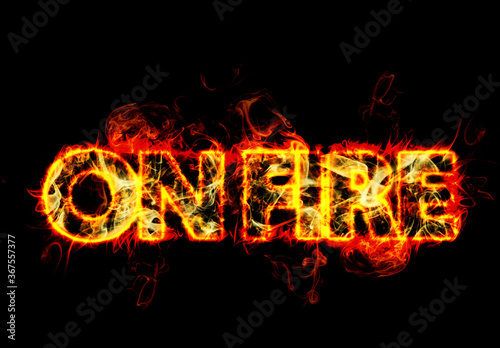 Fototapeta Realistic Burning Fire Text Effect Mockup obraz