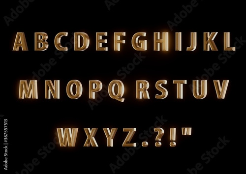 Golden alphabet with bevel on black background, slightly angled Fototapet