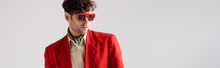 Website Header Of Fashionable Man In Red Blazer And Sunglasses Isolated On Grey