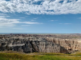 badlands south dakota, blue sky, moutains