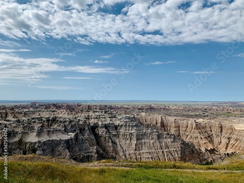 badlands south dakota, blue sky, moutains
