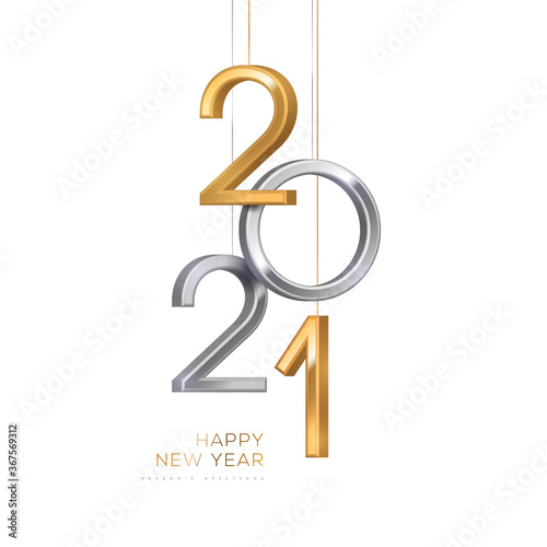 Obraz 2021 silver and gold numbers hanging on white background. Vector illustration. Minimal invitation design for Christmas and New Year. - fototapety do salonu