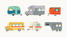 Colorful Campers RV. Various Road Home Trailers. Recreational Vehicle. Camping Caravan Cars. Holiday Trip Concept. Mobile Home For Country And Nature Vacation. Vector Set. Hand Drawn Illustrations