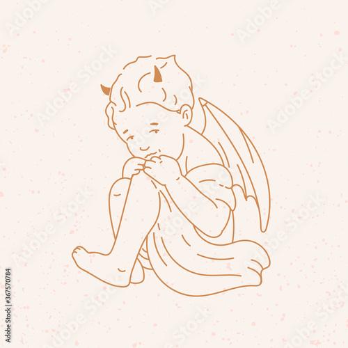 Canvas Print Newborn cupid little Baby or cherub with horns