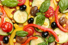 Delicious Vegetable Pizza As Background, Top View
