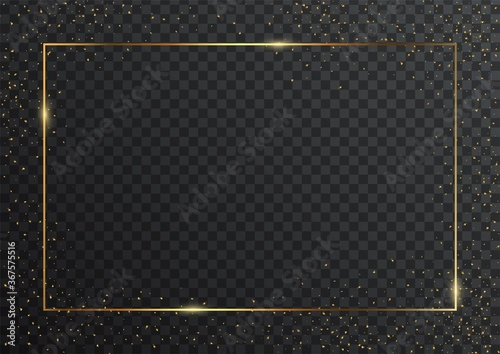Photo Thin rectangular golden geometric border and confetti on dark transparent background