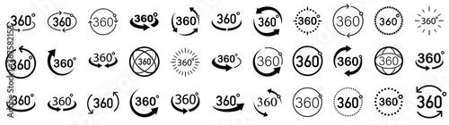 Fotografia, Obraz 360 Degrees View Vector set