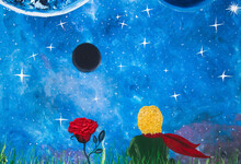 Oil Painting. The Little Prince And The Rose. Fabulous Picture, Fairy Tale On Canvas. Background.