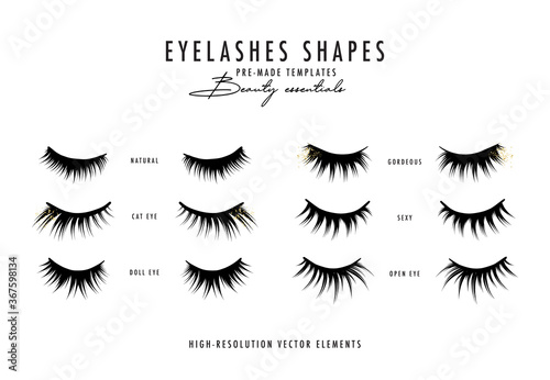 Photo Eyelash extension vector illustration