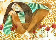 A Girl Having A Rest On A Fiel...