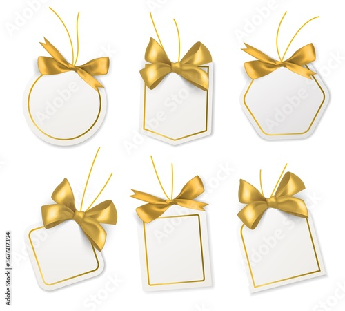 Photo Tags with gold bows