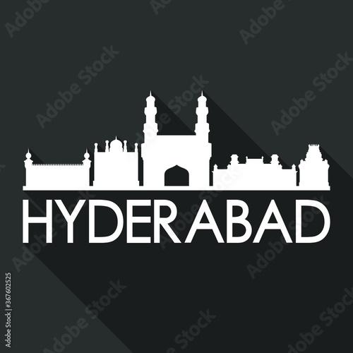 Hyderabad Flat Icon Skyline Silhouette Design City Vector Art Famous Buildings. Fototapete