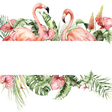 Watercolor Tropical Border Wit...