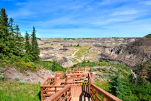 Wooden Trail Leading Through The Badlands Of Horseshoe Canyon, Near Drumheller, Alberta, Canada