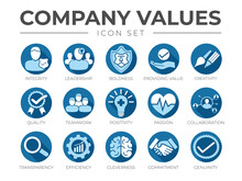 Blue Flat Business Company Values Flat Round Icon Set. Integrity, Leadership, Creativity, Quality, Teamwork, Positivity, Passion, Collaboration, Transparency, Efficiency, Cleverness, Commitment Icons.