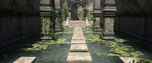 A Pool With Water Lilies And Stone Steps In The Old Temple. Photorealistic 3D Illustration. Beautiful Authentic Landscape.