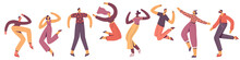 Group Of Young Happy Dancing P...
