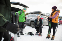 Friends With Snowshoeing Equip...