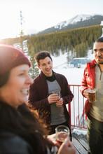Skier Friends Drinking Beer Ap...