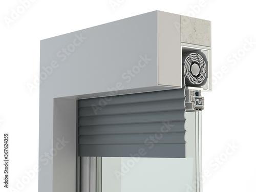 Obraz Construction of exterior window roller, type C - 3D illustration - fototapety do salonu