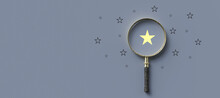 Magnifying Glass With A Yellow Star Mark As Symbol For Finding A Solution On Grey-blue Background