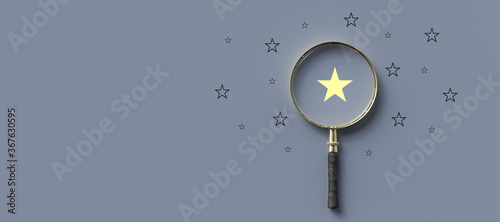 Tablou Canvas magnifying glass with a yellow star mark as symbol for finding a solution on gre
