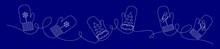 Winter Banner With Three Pairs Of Mittens Drawn In One Continuous Line On A Blue Background, Christmas Concept With Editable Stroke
