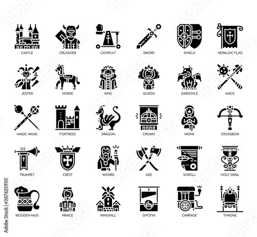 Fotografia, Obraz Set of medieval thin line and pixel perfect icons for any web and app project